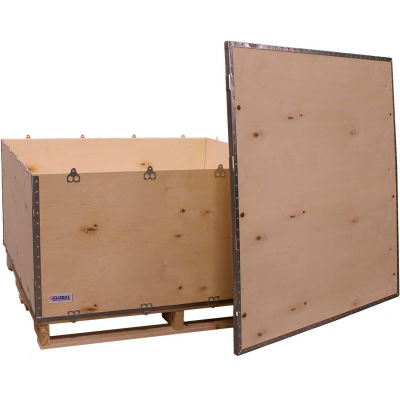 """Global Industrial™ 6-Panel Shipping Crate with Lid & Pallet, 48"""" x 48"""" x 28"""" O.D."""