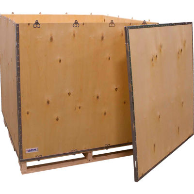"""Global Industrial™ 6-Panel Shipping Crate with Lid & Pallet, 48"""" x 48"""" x 48"""" O.D."""