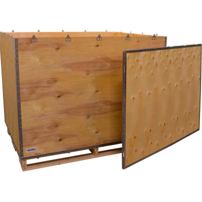 """Global Industrial™ 6-Panel Shipping Crate with Lid & Pallet, 58"""" x 42"""" x 46"""" O.D."""