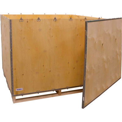 """Global Industrial™ 6-Panel Shipping Crate with Lid & Pallet, 60"""" x 48"""" x 48"""" O.D."""
