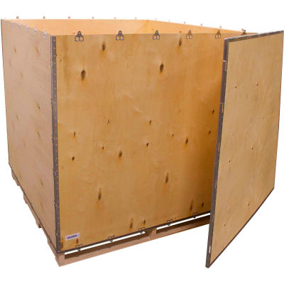"""Global Industrial™ 6-Panel Shipping Crate with Lid & Pallet, 60"""" x 60"""" x 60"""" O.D."""