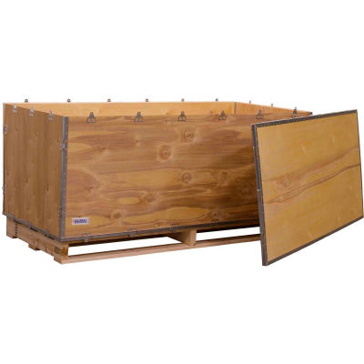 """Global Industrial™ 6 Panel Shipping Crate with Lid & Pallet, 66-1/4""""L x 29-1/4""""W x 25""""H"""