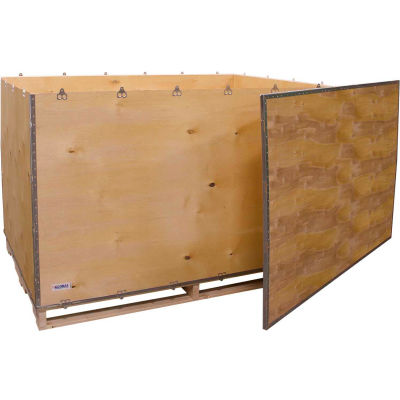 """Global Industrial™ 6 Panel Shipping Crate with Lid & Pallet, 71-1/4""""L x 47-1/4""""W x 42-1/2""""H"""