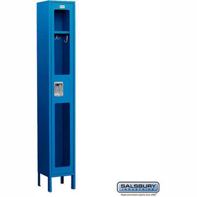 "See-Through Metal Locker S-61165 - Single Tier 1 Wide 12""W x 15""D x 72""H Blue Unassembled"