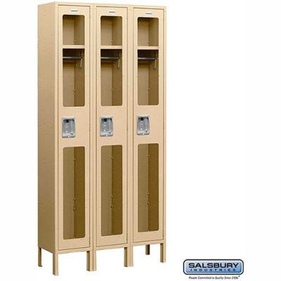 "See-Through Metal Locker S-61368 - Single Tier 3 Wide 12""W x 18""D x 72""H Tan Assembled"