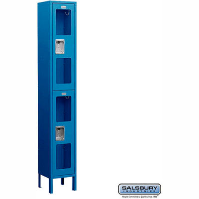 "See-Through Metal Locker S-62168 - Double Tier 1 Wide 12""W x 18""D x 36""H Blue Assembled"