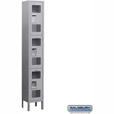 "See-Through Metal Locker S-63168 - Triple Tier 1 Wide 12""W x 18""D x 24""H Gray Assembled"
