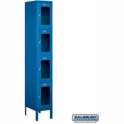 "Four Tier 4 Door See-Through Metal Locker, 12""Wx15""Dx18""H, Blue, Unassembled"