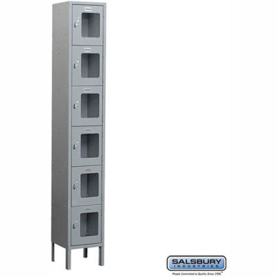 "See-Through Metal Locker S-66162 - Six Tier 1 Wide 12""W x 12""D x 12""H Gray Assembled"