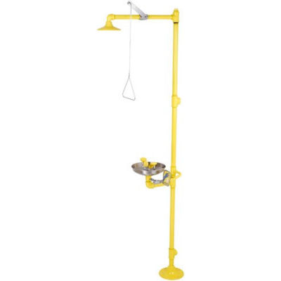 Acorn Safety Shower & Eye/Face Wash, Floor Mounted, Stainless Bowl, Plastic Showerhead, S1340