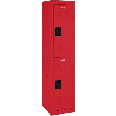 """Sandusky Double Tier 2 Door Extra Wide Welded Steel Locker, 15""""Wx18""""Dx33""""H, Red, Assembled"""