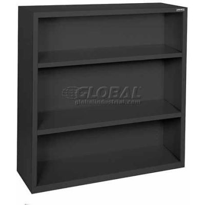 "Steel Bookcase 2-Shelf 46W X 18""D X 42""H-Black"