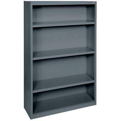 "Steel Bookcase 3 Shelves 34-1/2""W x 13""D x 60""H-Charcoal"