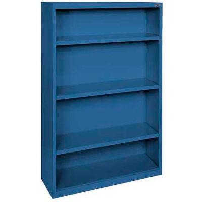 """Steel Bookcase 3 Shelves 34-1/2""""W x 13""""D x 60""""H-Blue"""