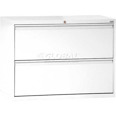 "Lateral File, 2-Drawer, 36W"" x 19-1/4D"" x 28-3/8H"", Standard White"