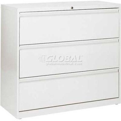 "Lateral File, 3-Drawer, 36W"" x 19-1/4D"" x 40-7/8H"", Standard White"