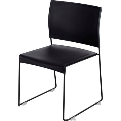 Safco® Currant™ Plastic Stacking Chair - Black with Black Frame - Pack of 4