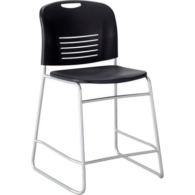 Safco® Vy™ Counter-Height Plastic Stacking Chair with Sled Base - Black