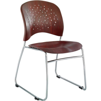 Safco® Reve™ Plastic Guest Stacking Chair with Sled Base - Mahogany - Pack of 2
