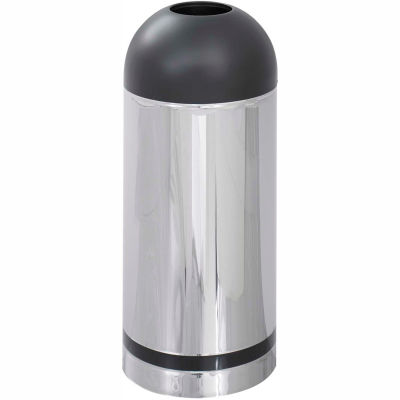 Safco® Reflective Open Top Dome Receptacle, Chrome/Black - 9871