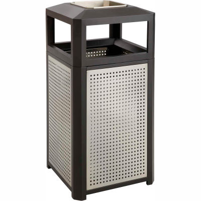 Safco® Evos™ Series Steel Garbage Can w/ Ash, 38 Gallon, 9935BL
