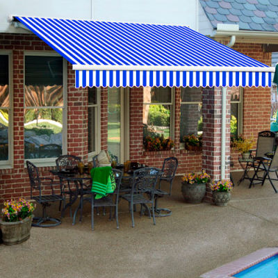 """Awntech SCR12-12-BBW, Retractable Awning Right Motor 12'W x 10'D x 10""""H Blue/White"""