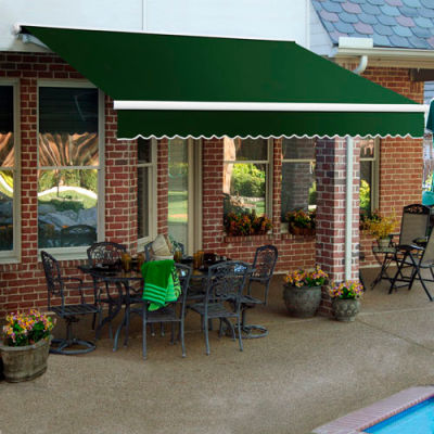 """Awntech SCL12-72-F, Retractable Awning Left Motor 12'W x 10'D x 10""""H Forest Green"""