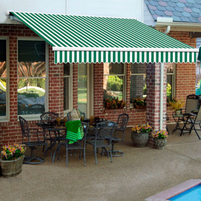 """Awntech SCR20-19-FW, Retractable Awning Right Motor 20'W x 10'D x 10""""H Forest Green/White"""