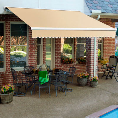 "Awntech SCR20-2-L, Retractable Awning Right Motor 20'W x 10'D x 10""H Linen"