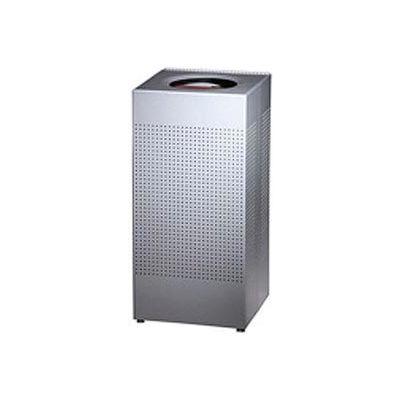 Rubbermaid® Silhouette SC14E Square Open Top Receptacle w/Liner, 16 Gallon - Silver Metallic