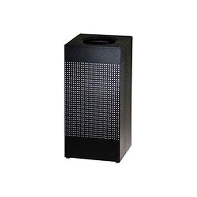 Rubbermaid® Silhouette Steel Square Trash Can W/Plastic Liner, 16 Gallon, Black