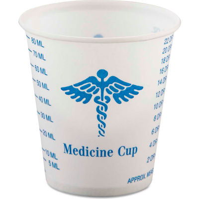 Dart® Paper Medical & Dental Graduated Cups, 3oz, White/Blue, 100/Bag, 50 Bags/Carton