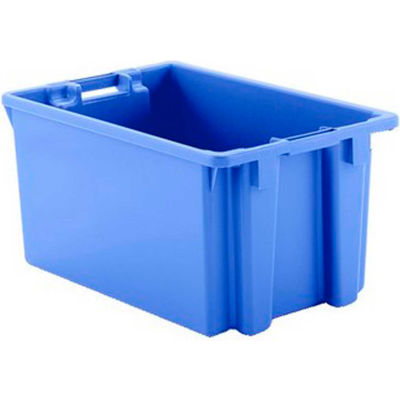 """Schaefer Stack & Nest Tote FB603 - 23""""L x 15""""W x 12""""H - Open Handles - Blue - Pkg Qty 15"""