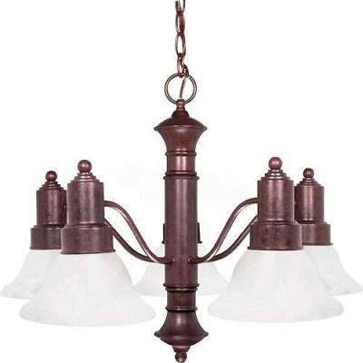 """Satco 60/191 Gotham 5 Light 25"""" Chandelier w/ Alabaster Glass Bell Shades  Old Bronze"""