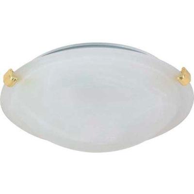 "Nuvo 60/274, 1 Light-Ceiling-Flush Mount W/Alabaster Glass, Polished Brass, 12.5""W X 4""H"