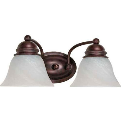 """Satco 60-345 Empire 2 Light - 15"""" - Vanity w/ Alabaster Glass Bell Shades  Old Bronze"""