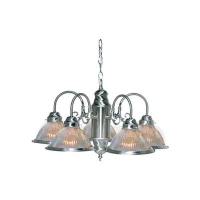 """Satco 76-444 5 Light - 22"""" - Chandelier - With Clear Ribbed Shades  Brushed Nickel"""