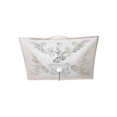 """Satco 77-392 2 Light - 12"""" - Ceiling Fixture - Square Floral / w/Pull Chain  White"""
