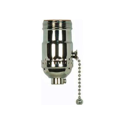 Satco 80-1037 On-Off Pull Chain Socket With Set Screw and Uno Thread - Polished Nickel