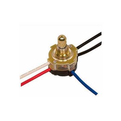 Satco 80-1361 3-Way Lighted Rotary Switch  Brass Finish