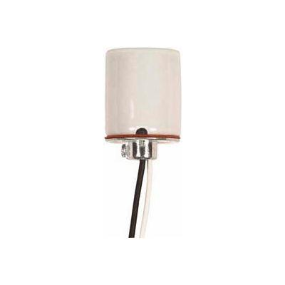 Satco 80-1614 Keyless Glazed Porcelain Socket 1/8 IP Cap w/Side Notches  2 Wireways and 18-in. Leads