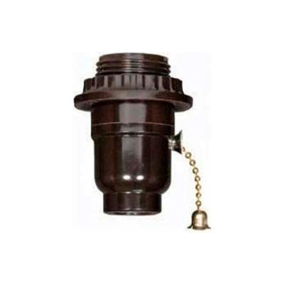 Satco 80-1640 Medium Base Socket - Nickel On-Off Metal Pull Chain