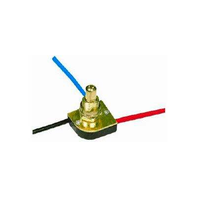 Satco 90-1678 3-Way Metal Push Switch  Brass Finish