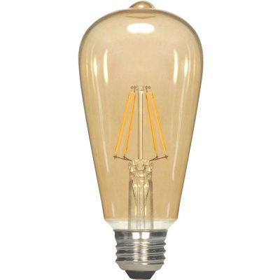 Satco S9577 2.5W ST19 Filament LED Medium Base Transparent Amber 2300K