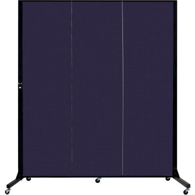 "Screenflex 3 Panel Light-Duty Portable Room Divider, 6'5""H x 5'9""L, Fabric Color: Navy"