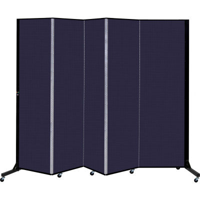 """Screenflex 5 Panel Light-Duty Portable Room Divider, 6'5""""H x 9'5""""L, Fabric Color: Navy"""