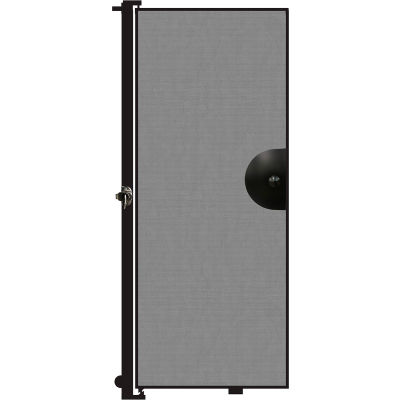 """Screenflex 6'8""""H Door - Mounted to End of Room Divider - Stone"""