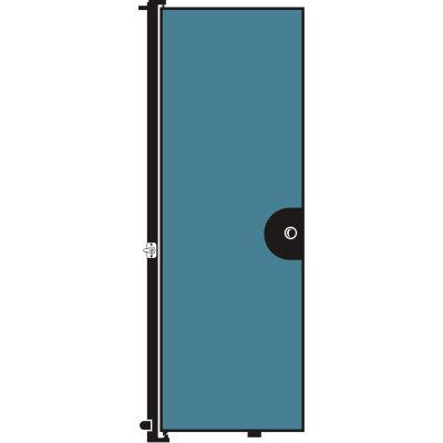 "Screenflex 7'4""H Door - Mounted to End of Room Divider - Blue"