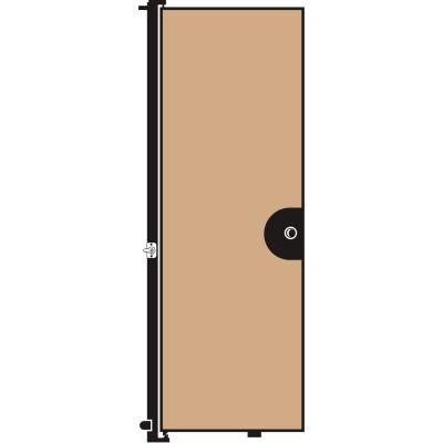 "Screenflex 7'4""H Door - Mounted to End of Room Divider - Vinyl-Hazelnut"