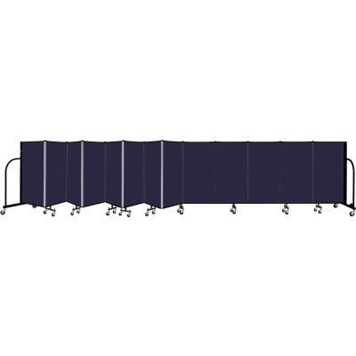 """Screenflex 13 Panel Portable Room Divider, 4' H x 24'1"""" L, Fabric Color: Navy"""
